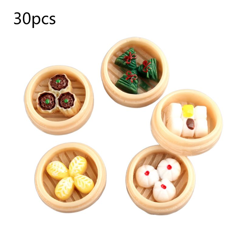 30Pcs/Pack Simulated 3D Steamed Dumplings Resin Flatback Cabochons DIY Jewelry Accessory Food Miniature Figurine Pendant
