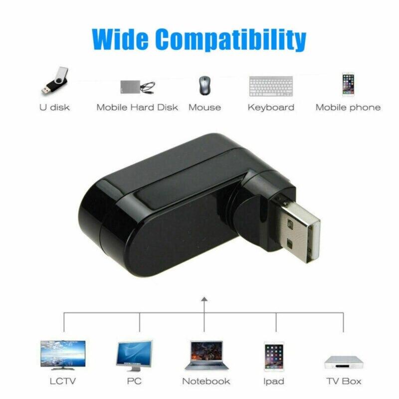 Купить с кэшбэком 3 Port USB 2.0 Mini Rotate Splitter Adapter Hub No Driver For PC Laptop Computer