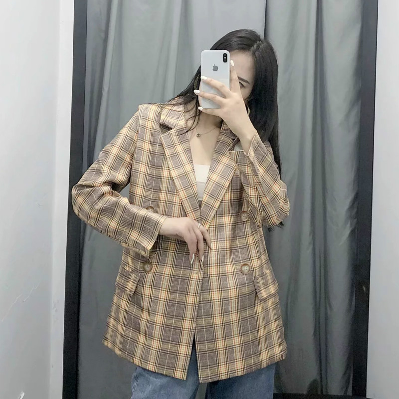 Casual retro colorblock plaid ladies jacket suit 2019 new autumn double-breasted women's plaid blazer Office jacket female