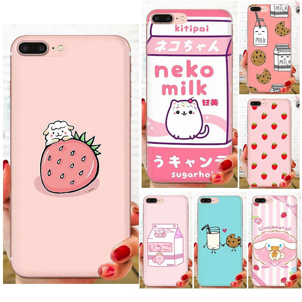 Kawaii Japanese Strawberry Milk For LG K50 Q6 Q7 Q8 Q60 X Power 2 3 Nexus 5 5X V10 V20 V30 V40 Q Stylus Soft Shell Phone Case image