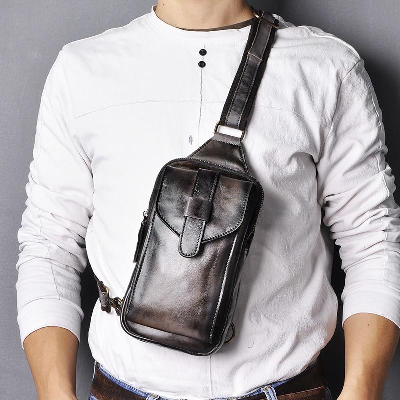 Top Quality Men Original Leather Vintage Design Fanny Wasit Chest Pack Bag Sling Crossbody Bag Daypack XB571-db