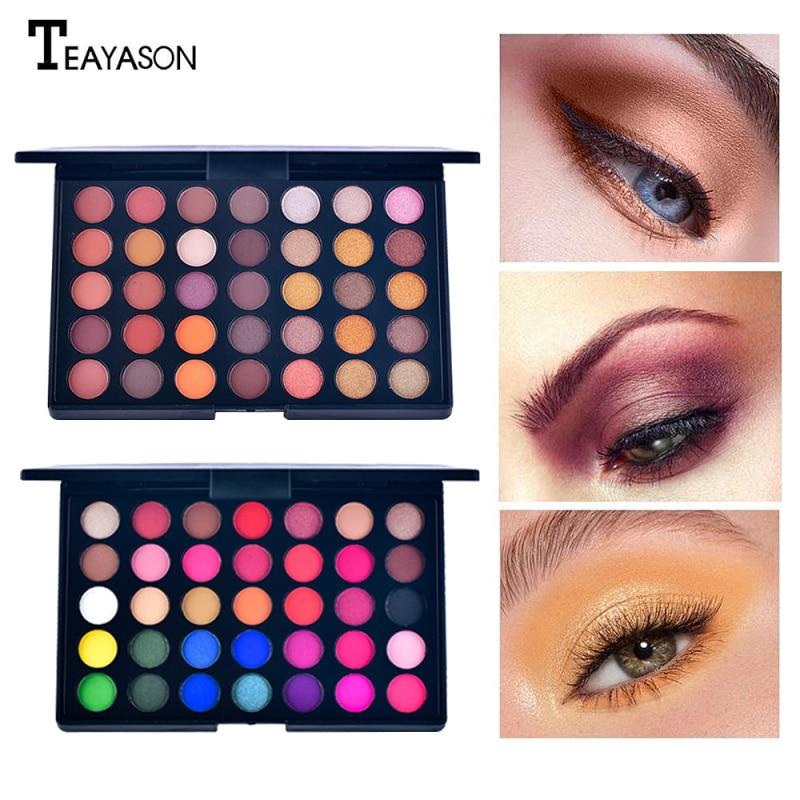 35 цветов макияж тени для век Палитра матовые мерцающие Сияющие тени для век перламутровый блеск пигмент дымчатые тени для век Косметика TSLM1|Тени для век|   | АлиЭкспресс