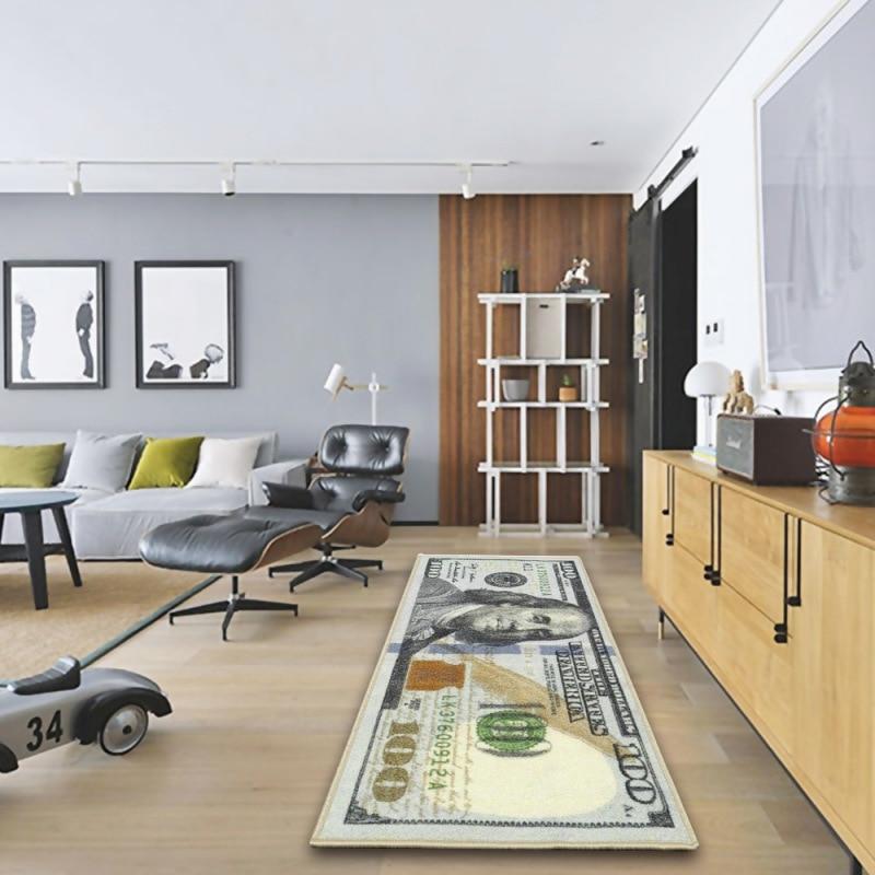 Современный домашний декор, ковер-бегун на 100 долларов, нескользящий коврик с принтом купюр