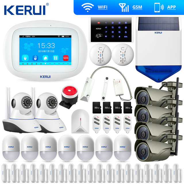 KERUI K52 4.3 אינץ TFT צבע מסך אזעקת אבטחה אלחוטית WIFI GSM מעורר מערכת APP בקרת Wifi מצלמה שמש סירנה