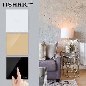 Настенный светодиодный сенсорный выключатель TISHRIC 1 шт./набор, ЕС, DIY, панель из хрустального стекла, модуль для домашней работы с SONOFF MINI, Wifi, у...