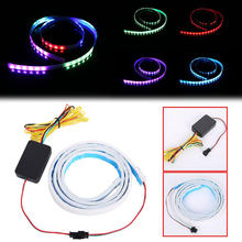 Mobil Tambahan Berhenti Lampu Dinamis Streamer Floating LED Strip 12 V Auto Trunk Ekor Rem Sein Lampu(China)