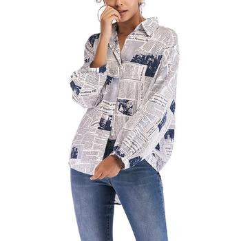 Blouse shirt 2020 blouse top women Long Sleeve ladies Shirts blouse Plus Size Loose lady Tops Letters Print White Blouse Blusas