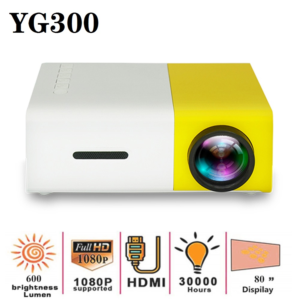 YG300 <font><b>LED</b></font> Mini Projector 320x240 Pixels Supports 1080P <font><b>YG</b></font>-<font><b>300</b></font> 80 Inch HDMI USB Audio Portable Projector Home Media Video Player image
