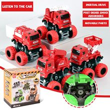 Brinquedo de carro de inércia de tração nas quatro rodas das crianças-4 caminhões de bombeiros equipados com carros de brinquedo movidos por fricção, veículos push-away f4 *