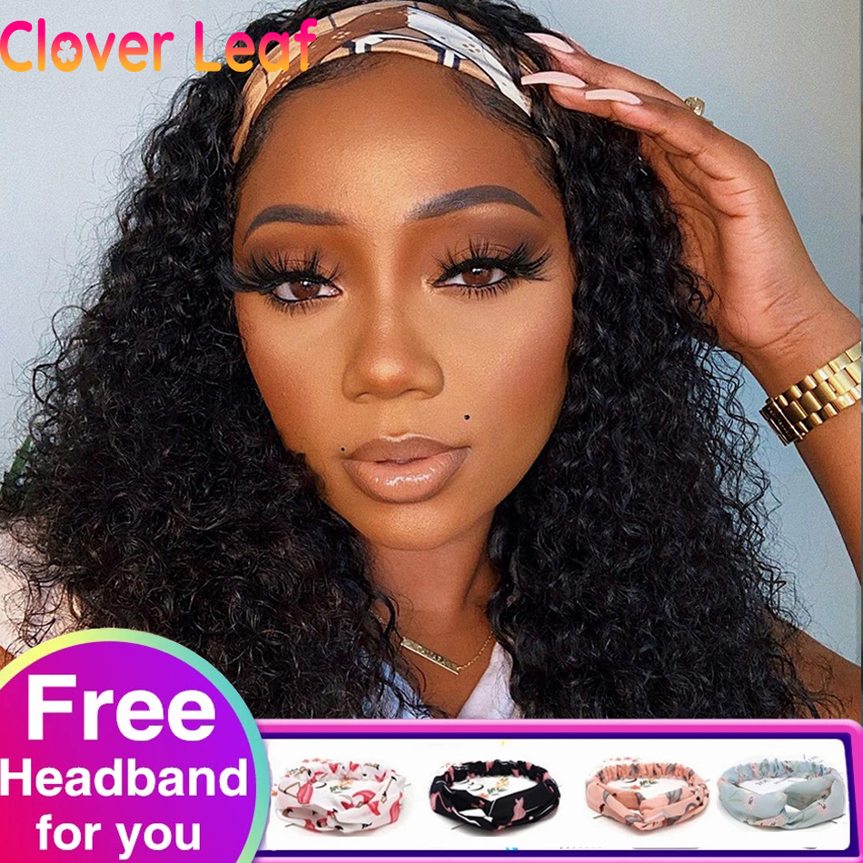 Trevo folha headbands kinky encaracolado peruca 150% remy indiano cabeça banda perucas de cabelo humano sem cola cachecol bandana perucas para preto