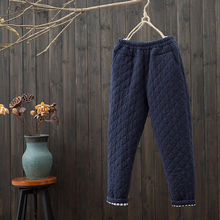 New Arrival Winter Arts Style Women Elastic Waist Quilting Cotton Pants Loose Ca
