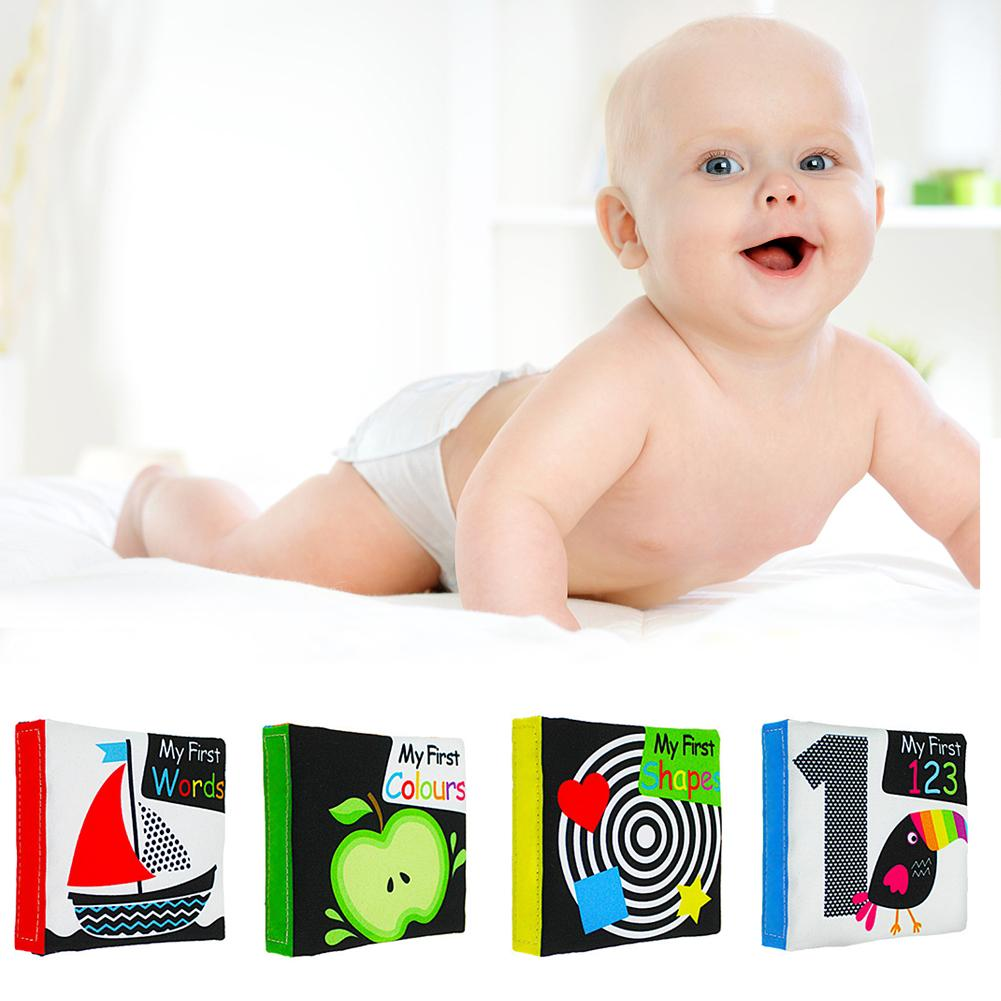 Soft Cloth Book Infant Early Education Rattle Toy Newborn Baby Activity Book 6T