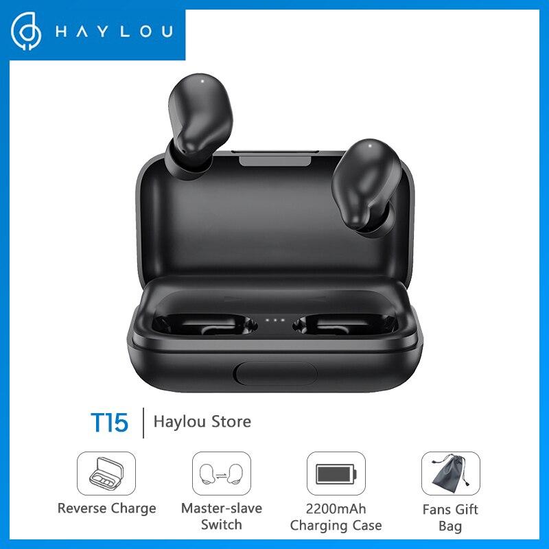 Haylou fones de ouvido t15, fones de ouvido, 2200mah, controle por toque, sem fio, som hd stereo, com redução de ruídos, bluetooth, com bateria de display Fones de ouvido  - AliExpress