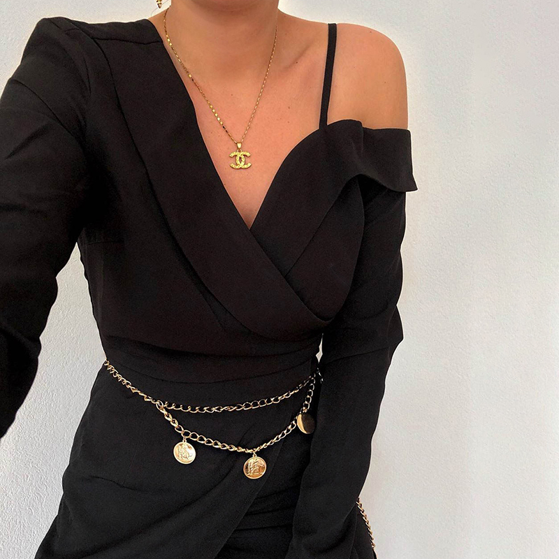 Elegant Asymmetrical Long Sleeve Office Blazer Black Dress 3