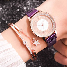woman leather gold watch fashion Not waterproof pointer Rhinestone Perspective w