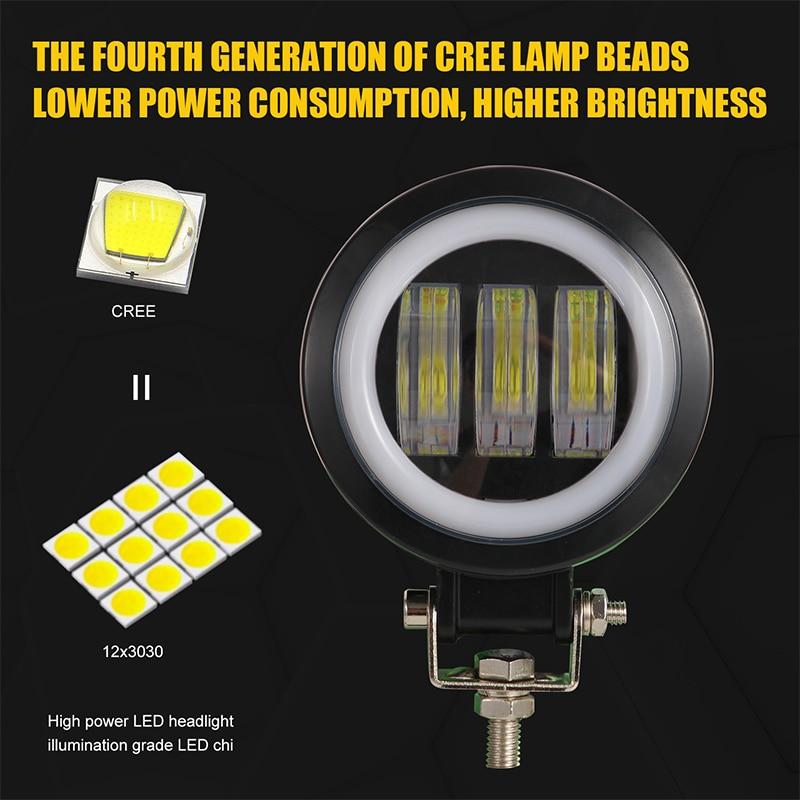4-Inch Motorcycle Spotlights Led SUV IP67 Work Light External Square Angel Eyes Spotlights Color Temperature 6000K 1