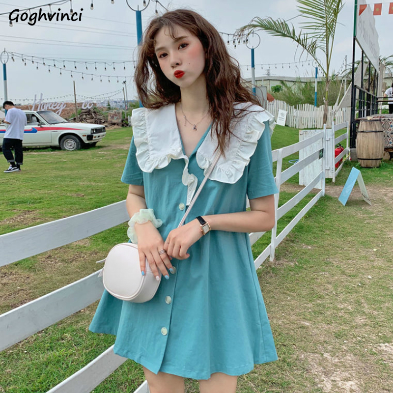 Short Sleeve Dress Women Summer Sailor Collar Kawaii Buttons Ruffles Pleated Womens Sweet Fashion 3 Colors A-line Vestidos Chic