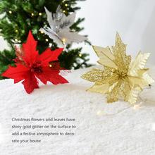 New High-quality Glitter Poinsettia Christmas Tree Ornaments Flower Decorations Houses Garlands Ending Party