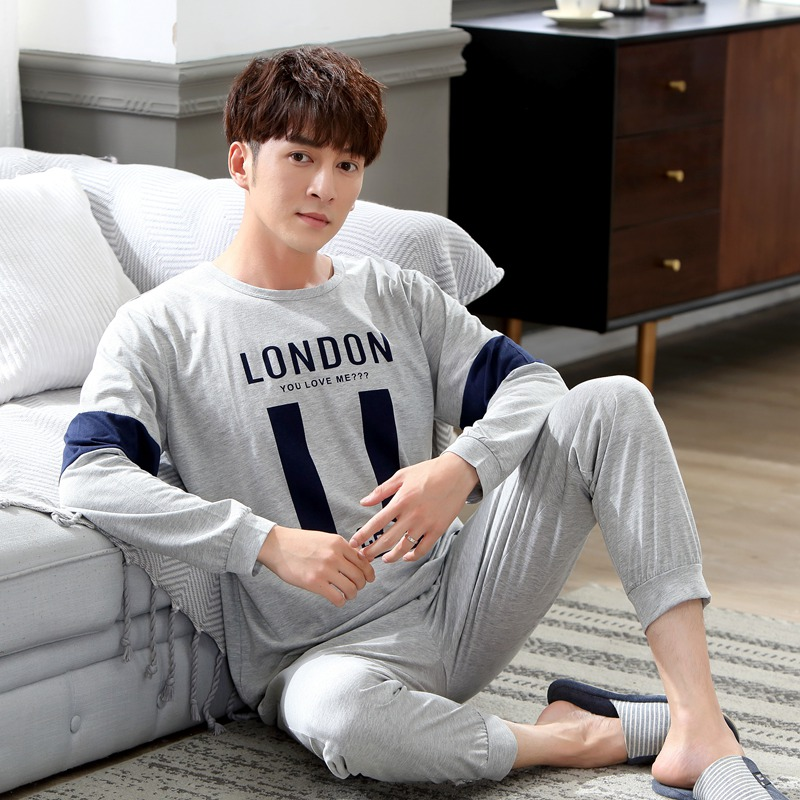 2020 New Spring Autumn Cotton Long Sleeve Pajama Set For Men Sleepwear High Quality Male Loungewear Pyjama Homewear Home Clothes