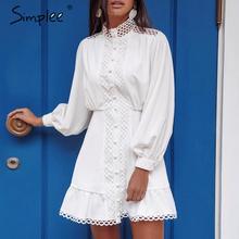 Simplee Streetwear נשים לבן שמלה ארוך שרוול לפרוע הולו מתוך ליידי קיץ שמלת אביב גיאומטרי פנס כיסים מיני בנות