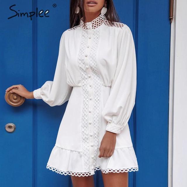 Simplee Streetwear 여성 흰색 드레스 긴 소매 프릴 중공 아가씨 여름 드레스 봄 기하학 랜턴 포켓 미니 드레스