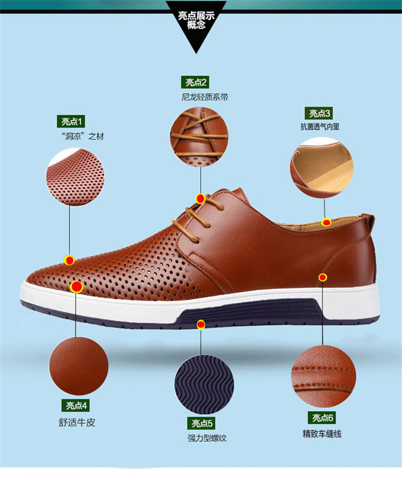 H44f394ce86424bfdbe0552a5d4b61ba72 New 2019 Men Casual Shoes Leather Summer Breathable Holes Luxurious Brand Flat Shoes for Men Drop Shipping