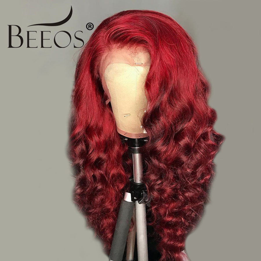 Beeos Colored Red Deep Wave 13*6 Deep Part Lace Front Human Hair Wig Transparent Lace Preplucked Brazilian Remy For Black Women