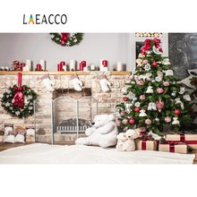 Christmas Tree Candles Teddy Bear Fireplace Gift Wreath Carpet Baby Party Photo Background Photographic Backdrop Photo Studio
