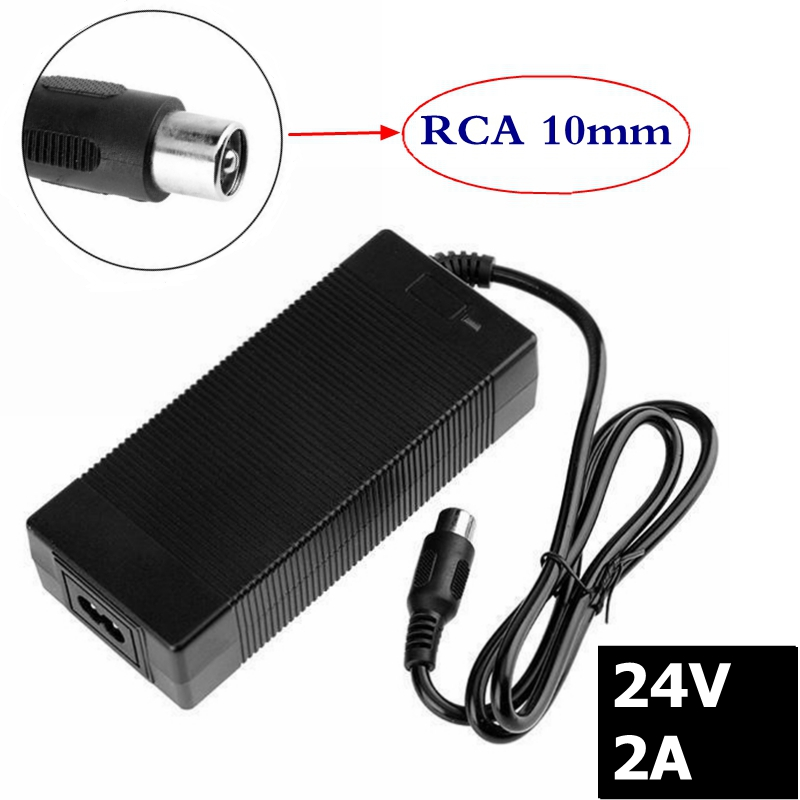 24v 2a lead-acid battery <font><b>charger</b></font> <font><b>electric</b></font> bike charge wheeler charge <font><b>golf</b></font> <font><b>cart</b></font> recharge RCA connector image