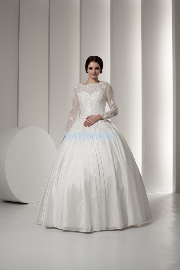 Free Shipping Bridal Dresses 2016 Luxury New Custom Size/color Bridal Gown With Jacket Long Sleeve Actual A Line Wedding Dresses