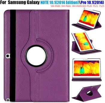 Sm p600 p601 p605 rotativo 360 capa de livro para samsung galaxy note 10.1 (2014 edição) tab pro 10.1 t520 t521 t525 caso