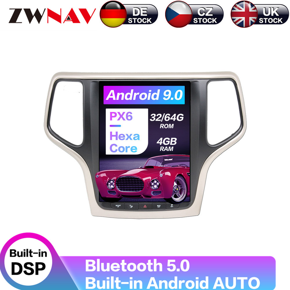 Android 9 Carplay DSP For Jeep Grand Cherokee 2014 - 2018 Vertical Tesla IPS Screen Car Multimedia Player Stereo GPS Navigation image