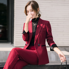 High quality ladies office suit set high 2019 new long sleeve red blazer Female Slim Micro Horn Pants Set Two-piece