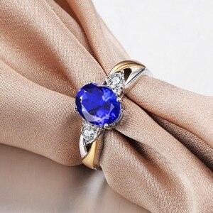 Image 2 - Cellпростые классические серебряные кольца 925 пробы, роскошные ювелирные изделия с овальным сапфиром, женский свадебный подарок с цирконием