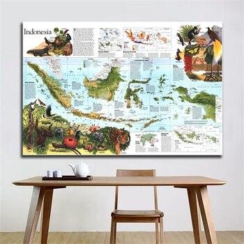 150x100cm Peta Peta Hiasan Dinding Sekolah Kantor Tahan Air Indonesia Peta Non-woven World Map Wall Sticker Map Poster
