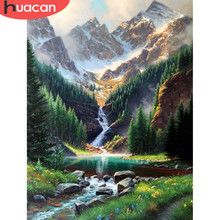 Huacan diyダイヤモンド塗装滝風景5d手芸フル平方ダイヤモンド刺繍クロスステッチ山の壁アート