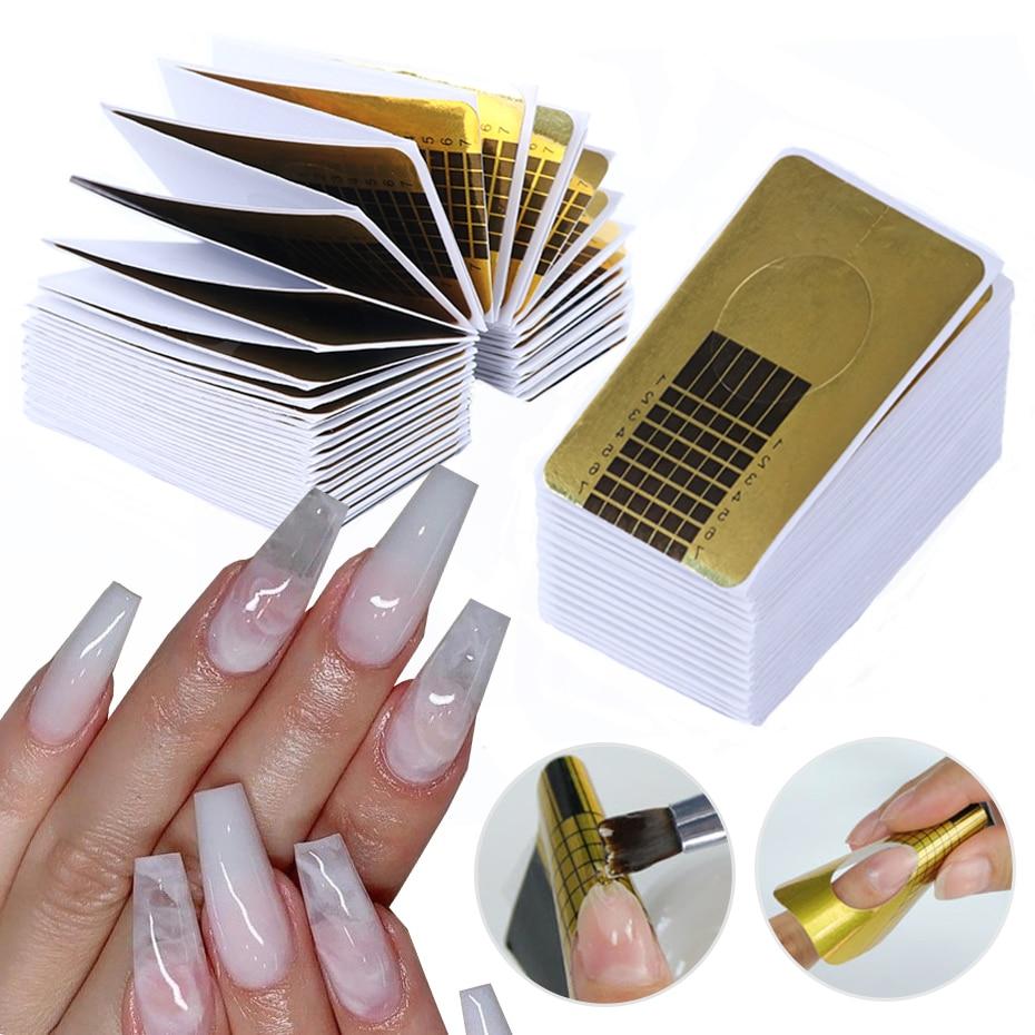 100 шт французские формы для ногтей для удлинения советы для строительства акриловый УФ гель лак трафарет направляющие бумаги формы инструм...