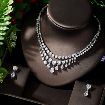 HIBRIDE 2020 New Fashion Heart Shape Pendant Necklace and Earring Sets AAA Cubic Zirconia 2pcs Jewelry Set  For Woman N-1275