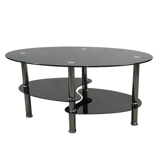 Online Shop Simple Dual Fishtail Style Tempered Glass Coffee Table