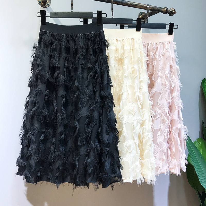 Spring Autumn Women Fashion Feather Tassel Pleated Skirts Elastic High Waisted Women Midi Party Skirt Saias Faldas Jupe Femmle