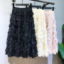 Faldas Pleated-Skirts Midi Autumn Tassel High-Waisted Fashion Saias Jupe Spring Elastic