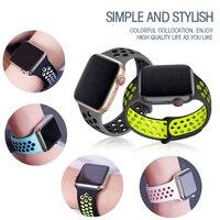 Correa de silicona para Apple Watch, banda de 44mm y 40mm para iWatch de 42mm y 38mm, pulsera transpirable para iwatch 6 5 4 3 se