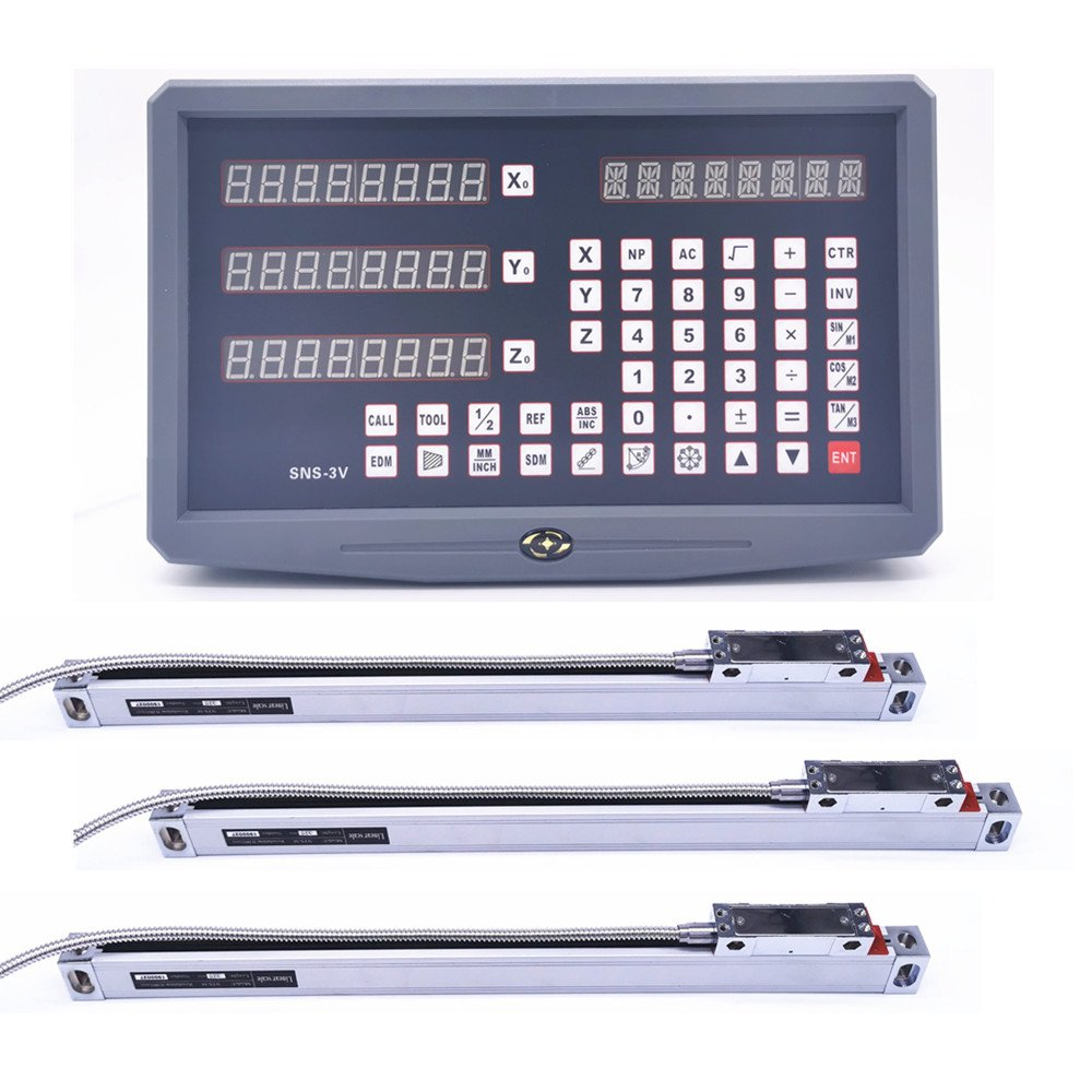 Complete Set SNS-3V 3 Axis DRO Digital Readout With 3 Pieces 0-1000mm High Precision Glass Linear Scale Encoder Ruler