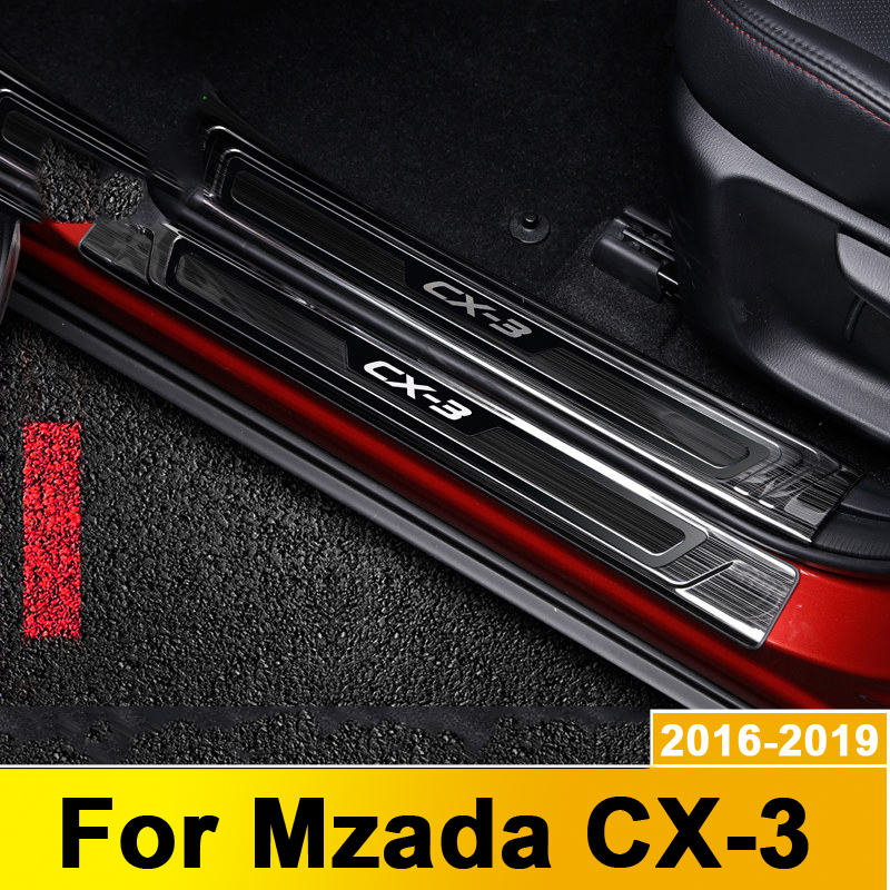 For <font><b>Mazda</b></font> <font><b>CX3</b></font> CX-3 2016-2018 <font><b>2019</b></font> Stainless Steel Scuff Plate Door Sill Welcome Pedal Protector Stickers Car Styling Accessories image