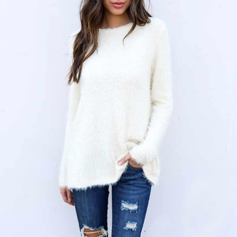 여자 스웨터 겨울 2020 플러스 크기 풀 오버 스웨터 한국어 따뜻한 스웨터 양모 니트 풀 오버 섹시 핑크 긴 소매 스웨터