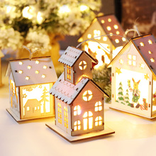 Christmas Decorations Wooden Lighted House Tree Pendant Holiday Gift Crafts Lighthouse