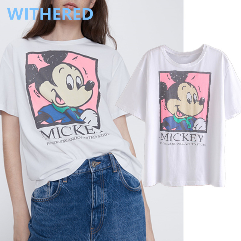 Withered England High Street Cute Cartoon Mouse Cotton O-neck Summer T Shirt Women Harajuku Tshirt Camisetas Verano Mujer 2020