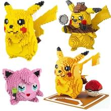 كزة أنيمي مجموعات Pikachued الماس كتل صغيرة صغيرة اللبنات الطوب ألعاب أطفال