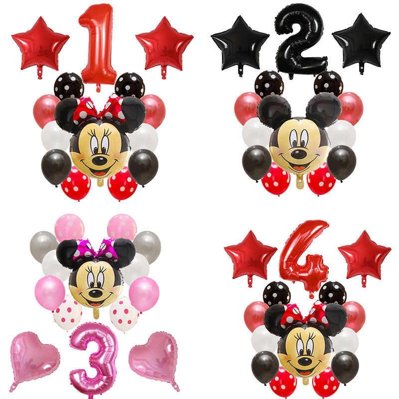 14pcs Happy Birthday Decoration Latex Balloon Mickey Minnie Mouse Heart Foil Ballon Baby Shower Number Balloon Kids Air Globos