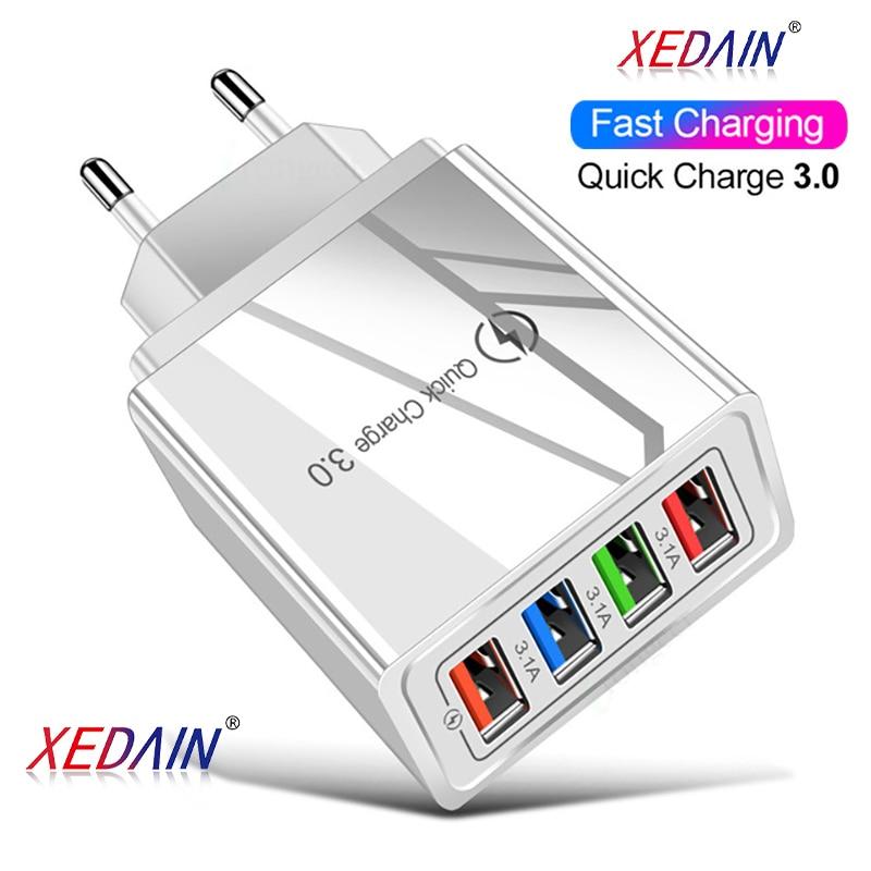 Cargador rápido de teléfono 5V/3A con 4 puertos y carga rápida 3,0 para iphone 7 y 8, Apple, Samsung, Xiaomi y Huawei